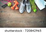 fitness equipment  healthy food ...   Shutterstock . vector #720842965