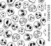 seamless skull pattern for... | Shutterstock .eps vector #720847135