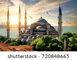 seagulls over blue mosque and... | Shutterstock . vector #720848665