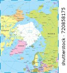 arctic region map   detailed... | Shutterstock .eps vector #720858175