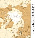arctic region map   vintage... | Shutterstock .eps vector #720858196