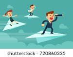 business team on paper... | Shutterstock .eps vector #720860335
