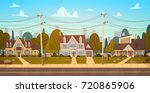 houses in suburb of big city in ... | Shutterstock .eps vector #720865906