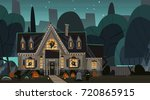 house decorated for halloween... | Shutterstock .eps vector #720865915