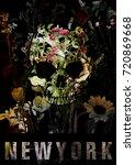 new york poster skull with... | Shutterstock . vector #720869668