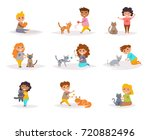 Stock vector children and cats vector cartoon isolated art on white background flat 720882496