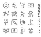 soccer line icon set. included... | Shutterstock .eps vector #720890902