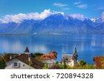 swiss riviera montreux  lake... | Shutterstock . vector #720894328