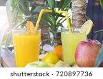 fresh natural lemonade and... | Shutterstock . vector #720897736