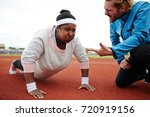 dedicated sport trainer... | Shutterstock . vector #720919156