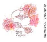 perfume vintage bottle  vector... | Shutterstock .eps vector #720920452