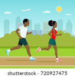young man and woman jogging in... | Shutterstock .eps vector #720927475