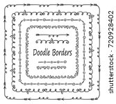 hand drawn set of doodle border ... | Shutterstock .eps vector #720928402
