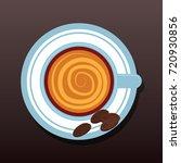 top view of chocolate latte art.... | Shutterstock .eps vector #720930856
