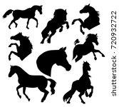 silhouette horse on white... | Shutterstock .eps vector #720932722