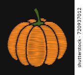 pumpkin. embroidery on dark... | Shutterstock .eps vector #720937012