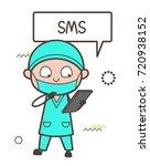 cartoon surgeon reading... | Shutterstock .eps vector #720938152