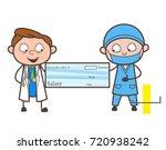 cartoon doctors showing salary... | Shutterstock .eps vector #720938242