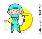 cartoon surgeon showing a... | Shutterstock .eps vector #720938266