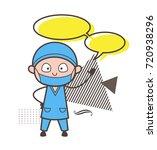 cartoon surgeon with speech... | Shutterstock .eps vector #720938296