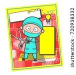 cartoon surgeon with scissors... | Shutterstock .eps vector #720938332