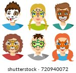 face painting  kids faces with... | Shutterstock .eps vector #720940072