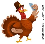 thanksgiving day. turkey in a... | Shutterstock .eps vector #720942025