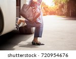 woman passenger with black hand ... | Shutterstock . vector #720954676