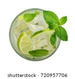 Small photo of Glass of Mojito cocktail or soda drink with lime and mint isolated on white background, top view