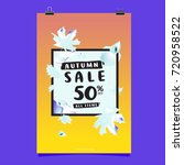 vector autumn sale poster... | Shutterstock .eps vector #720958522