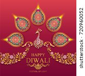 happy diwali festival card with ... | Shutterstock .eps vector #720960052