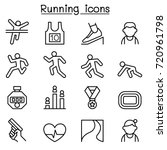 running icon set in thin line... | Shutterstock .eps vector #720961798