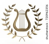 ancient lyre with wreath 3d... | Shutterstock . vector #720962356