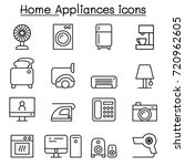 appliance icon set in thin line ... | Shutterstock .eps vector #720962605