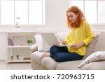 cute redhead freelancer girl... | Shutterstock . vector #720963715