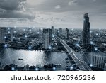 black and white smart city with ... | Shutterstock . vector #720965236
