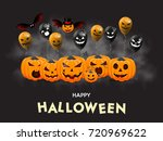 set of pumpkins with balloons... | Shutterstock .eps vector #720969622