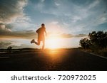 the man with runner on the... | Shutterstock . vector #720972025