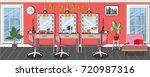 beauty salon interior design...   Shutterstock .eps vector #720987316