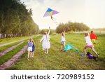 happy children in summer nature ... | Shutterstock . vector #720989152