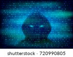 hacker silhouette on the blue... | Shutterstock .eps vector #720990805