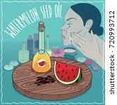 glass decanter of watermelon... | Shutterstock . vector #720993712
