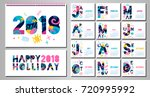 2018 wall monthly calendar... | Shutterstock .eps vector #720995992