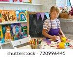 portrait of blonde little boy...   Shutterstock . vector #720996445