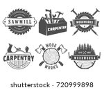 woodwork logos. vector badges... | Shutterstock .eps vector #720999898