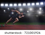 sprinter leaving starting... | Shutterstock . vector #721001926