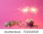 Two Sparklers On Cupcake Pink...