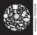 vintage elements for restaurant ... | Shutterstock .eps vector #721026295