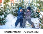 two little kid boys in colorful ... | Shutterstock . vector #721026682
