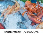 fresh seafood red crawfish ... | Shutterstock . vector #721027096